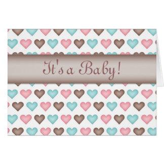 Cartão unisex dos corações do bebê