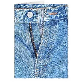 cartão unzipped de jeans