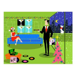 Cartão urbano retro do casal do Natal Cartão Postal