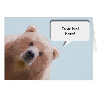 Cartão Urso bonito com bolha editável do discurso
