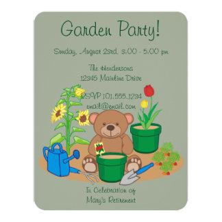Cartão Urso bonito do partido de jardim do país