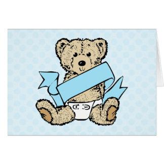 Cartão Urso bonito e chá de fraldas da fita azul