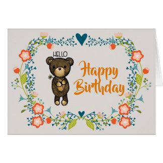 Cartão Urso bonito, flor amarela & aniversário floral da