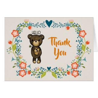 Cartão Urso bonito, flor amarela & obrigado floral da