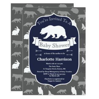 Cartão Urso branco & chá de fraldas rústicos modernos dos