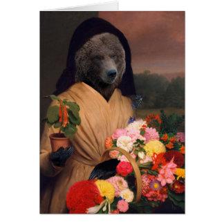 Cartão Urso com flores - composto antropomórfico