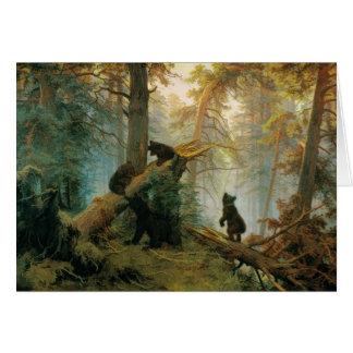 Cartão Urso Cubs do vintage por Ivan Shishkin 1889