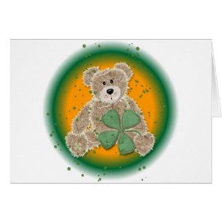 Cartão Urso de ursinho bonito do grunge do trevo