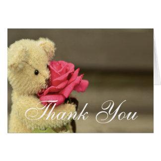 Cartão Urso de ursinho com obrigado do rosa você