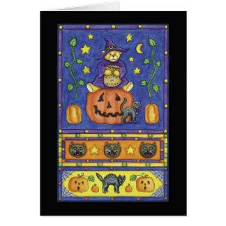 Cartão Urso de ursinho do Dia das Bruxas na abóbora