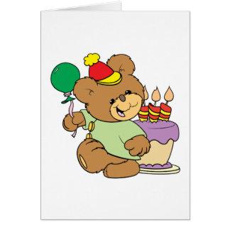 Cartão urso de ursinho do feliz aniversario com bolo e