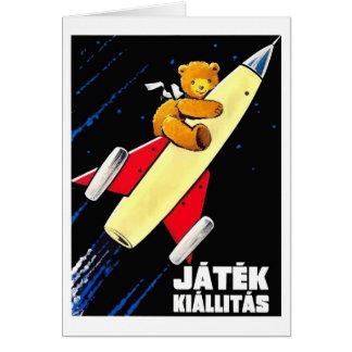 Cartão Urso de ursinho em um brinquedo húngaro do vintage