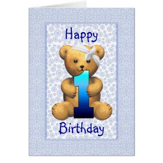 Cartão Urso de ursinho feliz do primeiro aniversario