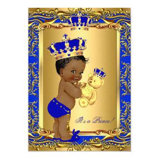 Cartão Urso do chá de fraldas do príncipe Coroa dos azuis
