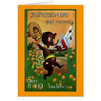 Cartão Urso do festival do dia de admissão de Califórnia