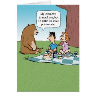 Cartão Urso engraçado que deixa de funcionar um