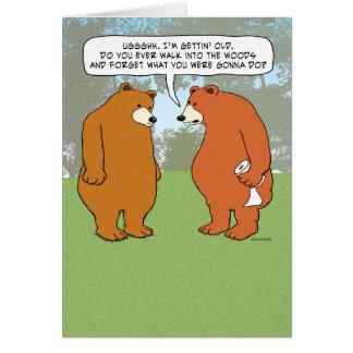 Cartão Urso esquecido engraçado no aniversário das