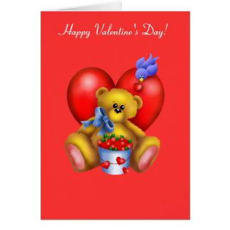 Cartão Urso feliz 1 do coração dos namorados