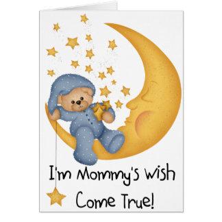 Cartão Urso na lua eu sou o desejo da mamã (azul)