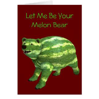 Cartão Urso nacional do dia da melancia