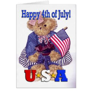Cartão Urso patriótico da menina - feliz 4o julho!