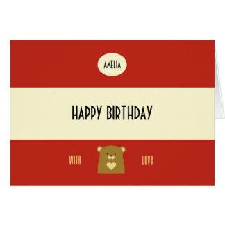 Cartão Urso personalizado da vaia - vermelho do arando