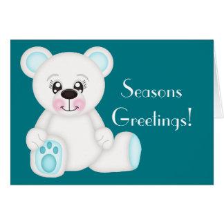 Cartão Urso polar do Natal azul