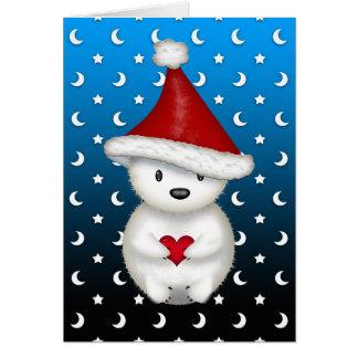 Cartão Urso polar do Natal bonito que guardara o coração
