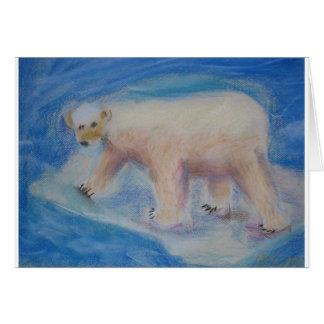 Cartão Urso polar em gelo shrinking