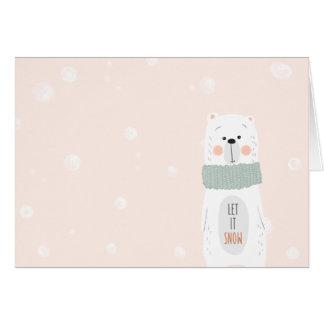 Cartão Urso polar - o deixe nevar - inverno bonito/Natal