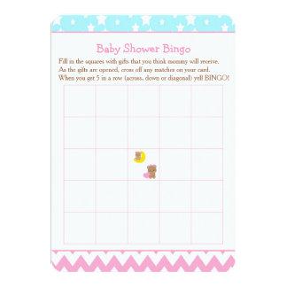 Cartão Ursos bonitos do bebé com Bingo do chá de fraldas