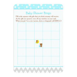 Cartão Ursos bonitos do bebê do menino com Bingo do chá