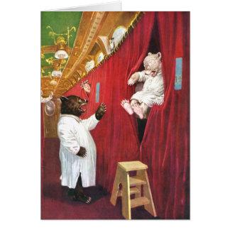 Cartão Ursos de Roosevelt em um trem no carro de sono