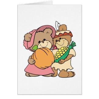 Cartão ursos de ursinho bonitos da acção de graças do