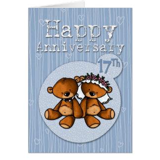Cartão ursos felizes do aniversário - 17 anos