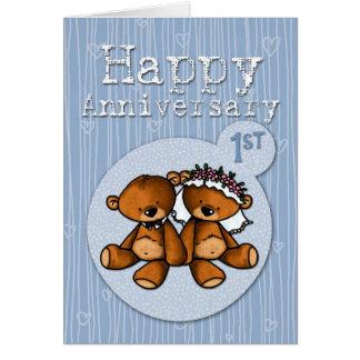 Cartão ursos felizes do aniversário - 1 ano