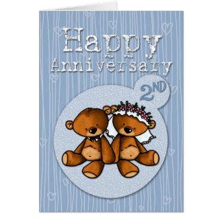 Cartão ursos felizes do aniversário - 2 anos