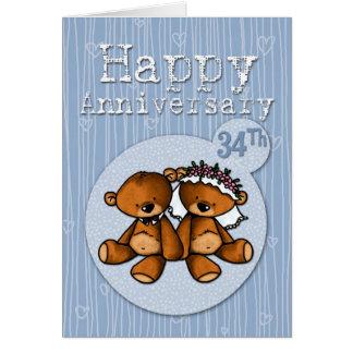 Cartão ursos felizes do aniversário - 34 anos