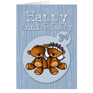Cartão ursos felizes do aniversário - 3 anos