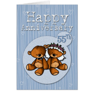 Cartão ursos felizes do aniversário - 55 anos