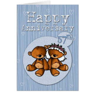 Cartão ursos felizes do aniversário - 57 anos