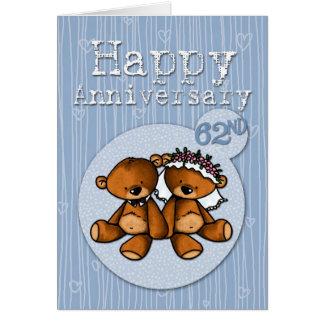 Cartão ursos felizes do aniversário - 62 anos