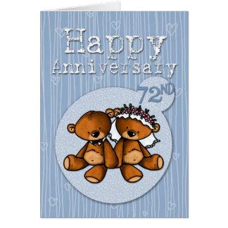 Cartão ursos felizes do aniversário - 72 anos