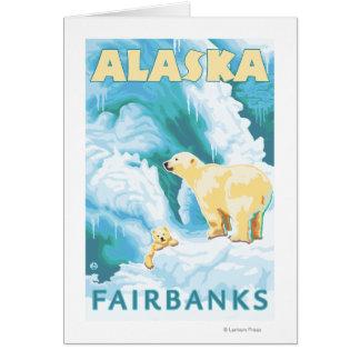 Cartão Ursos polares & Cub - Fairbanks, Alaska