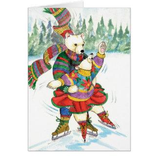 Cartão Ursos polares do patinagem no gelo