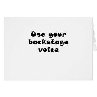 Cartão Use sua voz de bastidores