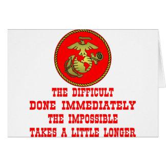 Cartão USMC o difícil feito imediatamente o impossível