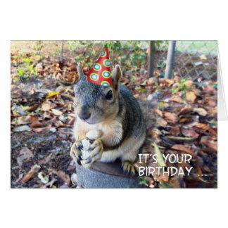 Cartão Vá selvagem em seu esquilo bonito do chapéu do