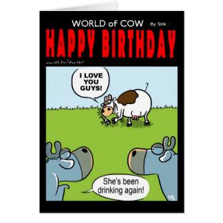 Cartão Vaca bêbeda do aniversário