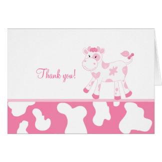 Cartão Vaca cor-de-rosa obrigado dobrado você notas